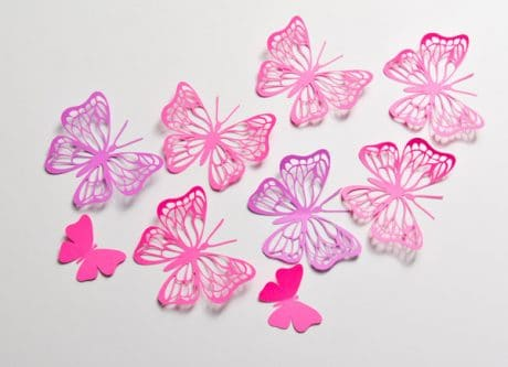 12 Large Hot Pink Paper Butterfly, 3D Wall Decor, Butterfly Party Decoration