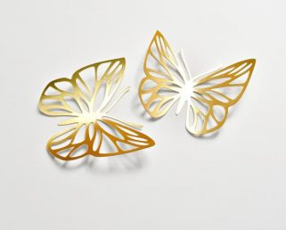 14 Gold Paper Butterflies, Gold Butterfly Wall Stickers, Butterfly Decoration