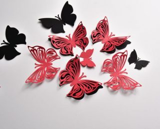 Paper Wall Butterfly, 3D Black and Red Butterflies, Butterfly Wall Stickers