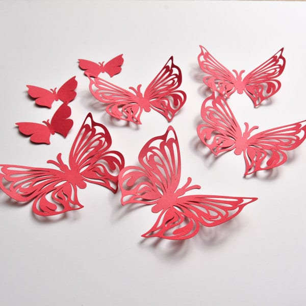 Butterfly Paper Art Red Party Home Decor Wall Butterflies