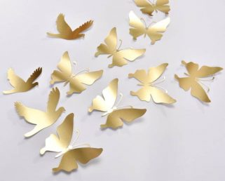 16 Gold Butterfly Wall Decor, Gold Butterfly Wedding Decoration