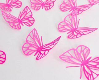 Fuchsia Pink Butterflies Wall Art, Large Paper Butterflies, 3D Paper Butterflies