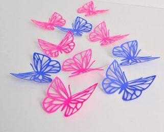 Fuchsia Violet Butterflies Wall Art, Large Paper Butterflies, 3D Paper Butterflies