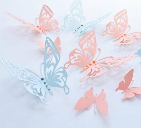 Salmon Blue Butterflies Paper Butterflies, Wall Paper Butterflies