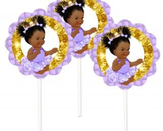 lavender gold princess cake toppers