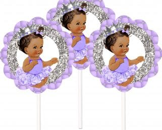 lavender silver princess cake toppers