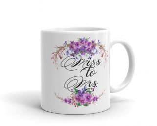 Miss to Mrs. Coffee Mug, Purple Wedding Gift Mug
