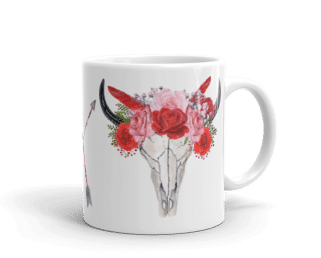 Red Floral Bull Skull Coffee Mugs, Wedding Gift Coffee Mugs