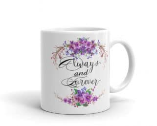 Purple Floral Wedding Coffee Mug