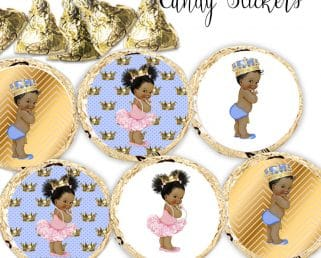 prince and princess royal baby shower stickers