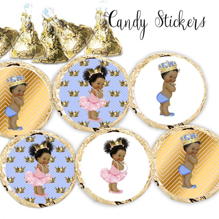 Little Prince And Princess Royal Stickers For Hershey Kisses Set Of