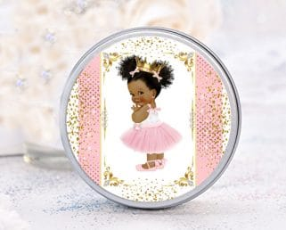 40 Royal Princess Baby Shower Labels African American Princess