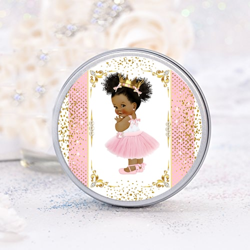 40 Royal Princess Baby Shower Labels African American