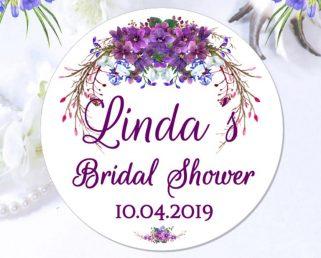 purple custom wedding labels