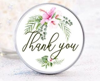 tropical thank you labels