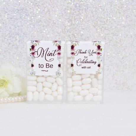 Burgundy Bridal Shower Tic Tac Labels