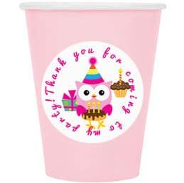 light pink cups and owl labels