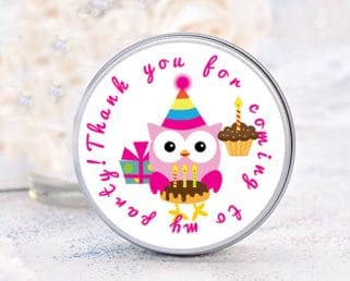 owl birthday favor labels