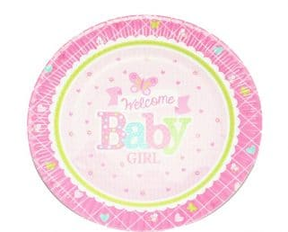 welcome baby girl dessert paper plate