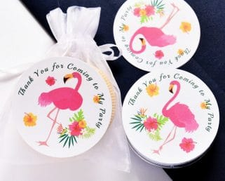 Flamingo Birthday Party Labels