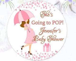 Custom Baby Shower Stickers She's