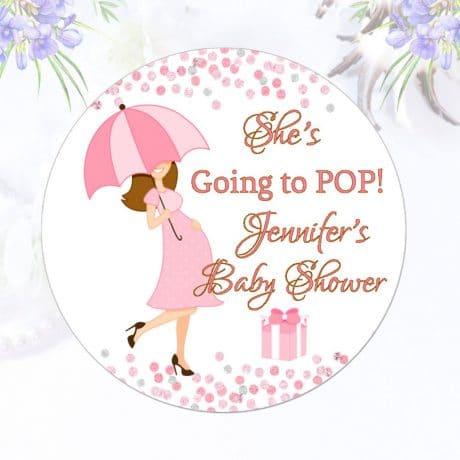 Custom Baby Shower Stickers She's