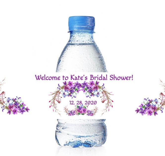 Wedding Water Bottle Labels.Purple Custom Water Bottle Labels Boho Wedding Water Bottle Labels