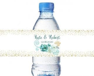 Custom Teal and Gold Water Bottle Labels